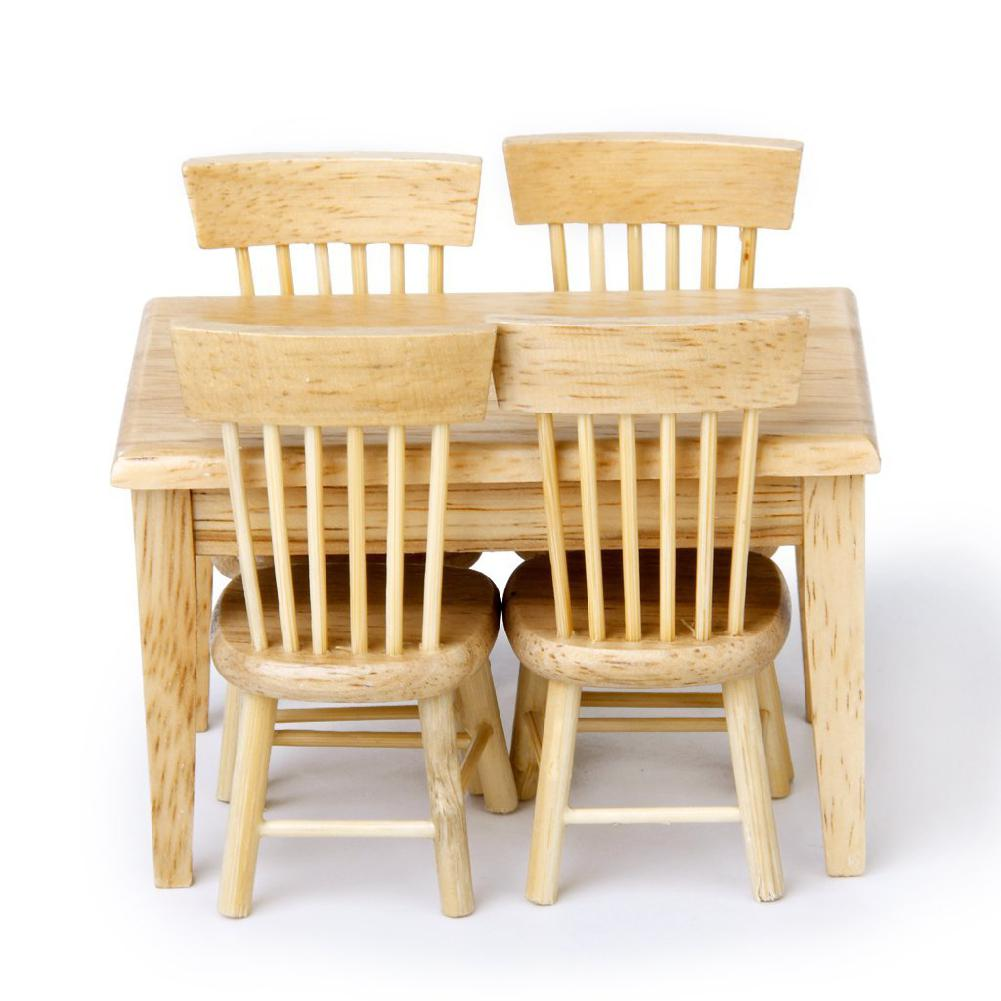 5pcs Miniature Dining Table Chair Wooden Furniture Set for 1:12 Dollhouse---Wooden Color