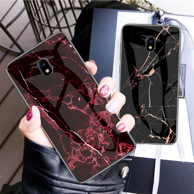 Luxury Marble Tempered Glass Phone Case For Samsung Galaxy J6 J4 Plus J8 J3 2018 J5 J7 Pro 2017 J2 Prime J730 Cover Coque Fundas-in Fitted Cases from Cellphones & Telecommunications