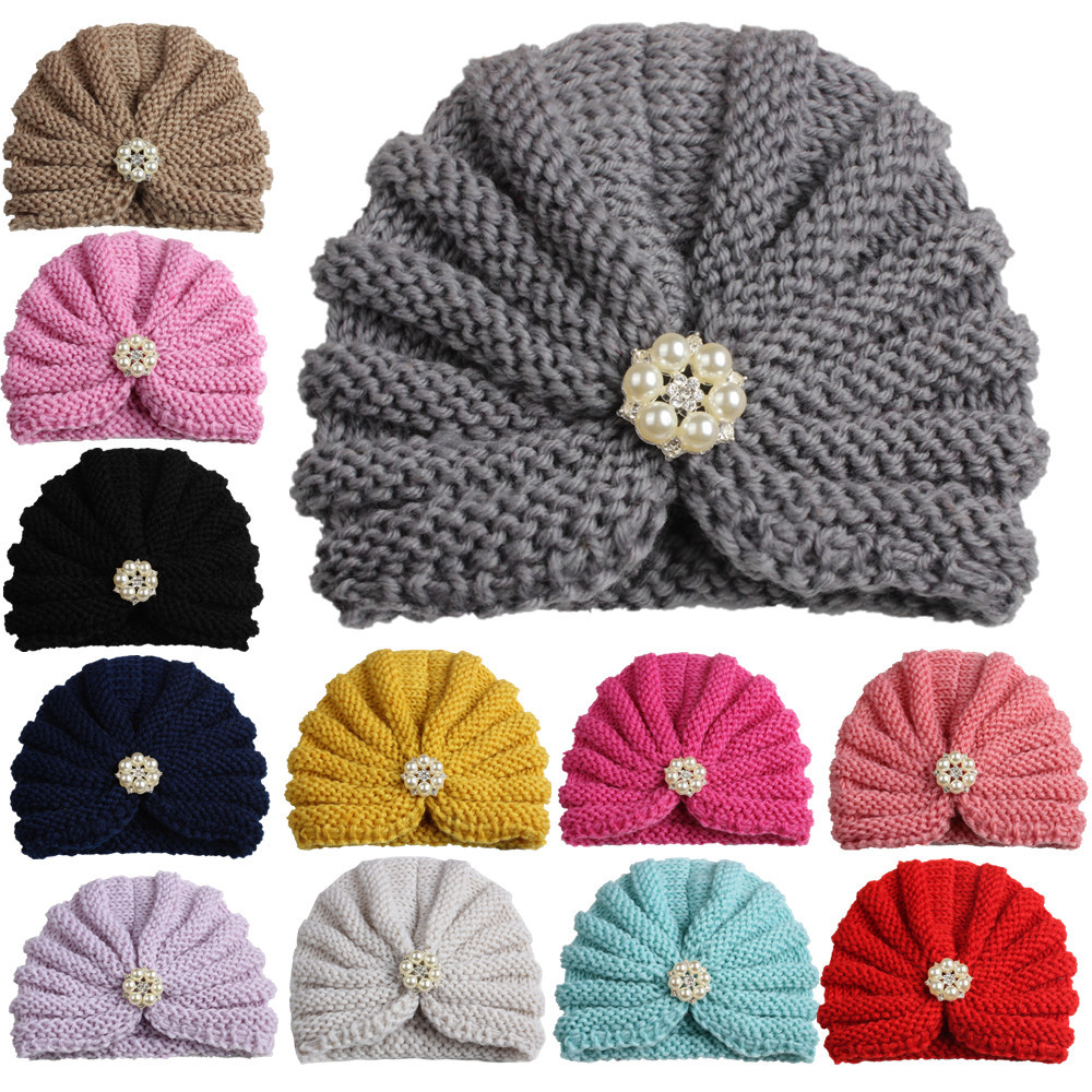 12pcs New arrival baby india hat vintage pearls rhinestone Turban cap kids beanie hats toddler infants caps dome hats for girls