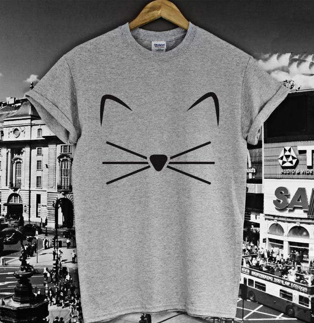 Fronte del gatto barba Stampa T shirt Cotone Casual Divertente Shirt Per La Signora Grigio Bianco Top Tee Hipster Z-232