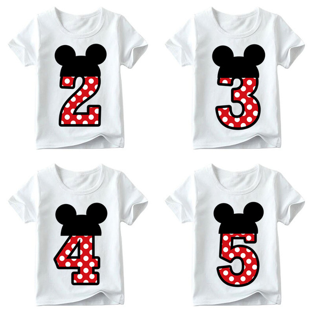 Baby Boys/Girls Happy Birthday Letter Bow Cute Print Clothes Children Funny T shirt,Kids Number 1-9 Birthday Present,ooo2416 1