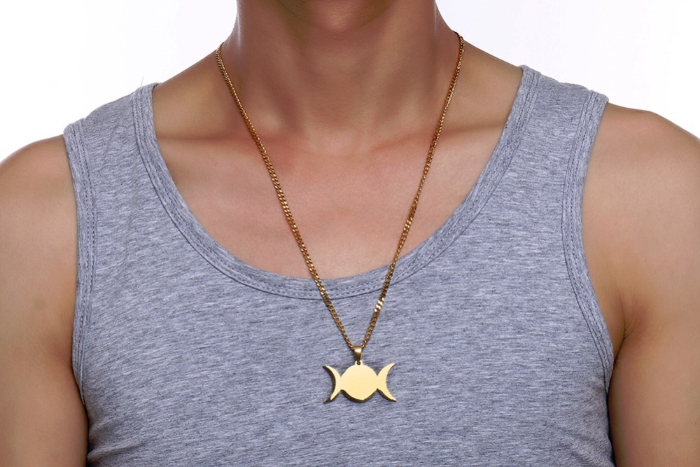 Crescent Moon Pendant Necklace For Men