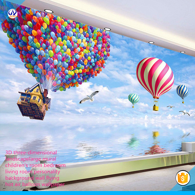 2018 3D Three-dimensional Landscape Large Mural Children's Room Bedroom Living Room  Wall Flying Hot AS-CX Air Balloon Wallpaper