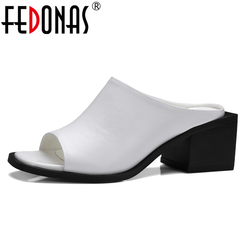 FEDONAS 2018 New Gladiator Women Genuine Leather Summer Sandals Sexy Black White Elegant High Heeled Slippers Shoes Woman Pumps black women wedge slippers 12cm high heel platform pumps genuine leather shoes woman gladiator sandals slides wedges creepers