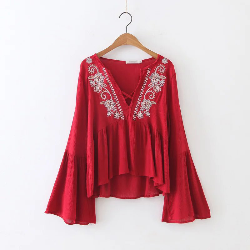 YSMILE Y Fashion Women Shirt Sexy Embroidery V-Neck Female Blouse Comfortable All Match Flare Sleeve Casual Shirt Women Clothes
