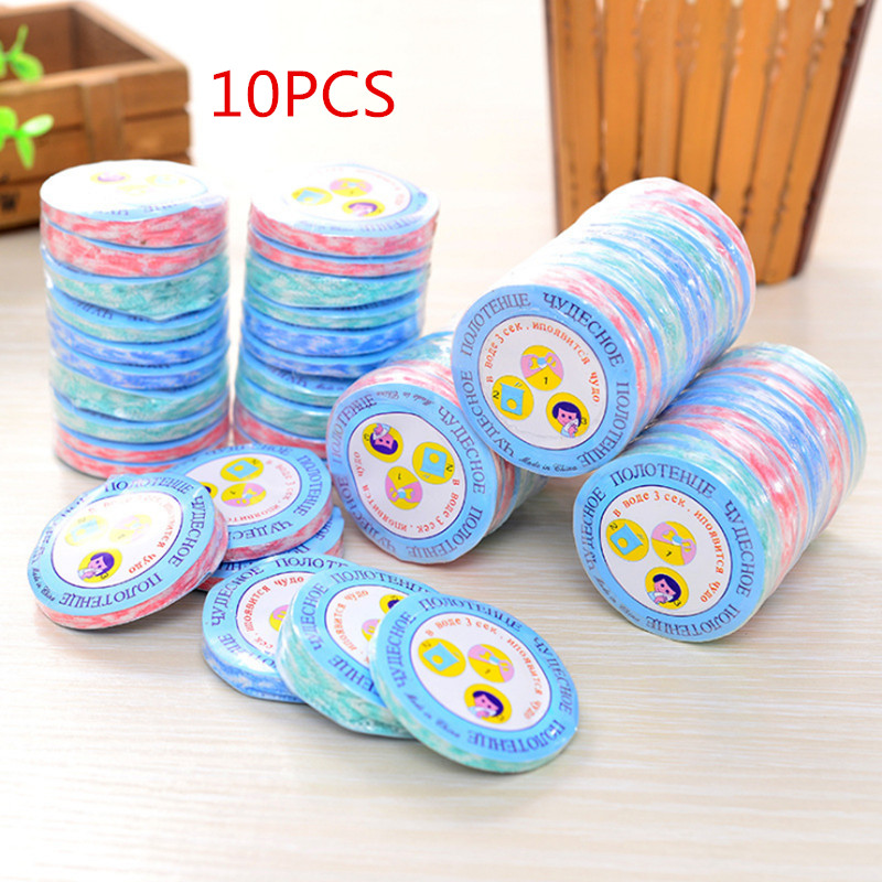 10pcs/set Super Portable Travel Non-woven Fabric Disposable Compressed Towel Mini Face Care Magic Hand Towel For Outdoor Sports