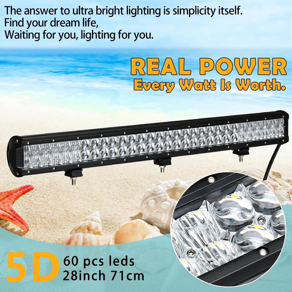 Real Power 5D 28 Inch 70cm Led Bar Led Work light Led Light Bar for Off Road 4x4 4WD ATV UTV SUV Driving Light Truck Car Lamp 240w led light bar 13 5inch combo beam led bar driving lights 5d lens reflector led off road lights 4x4 suv truck boat utv atv