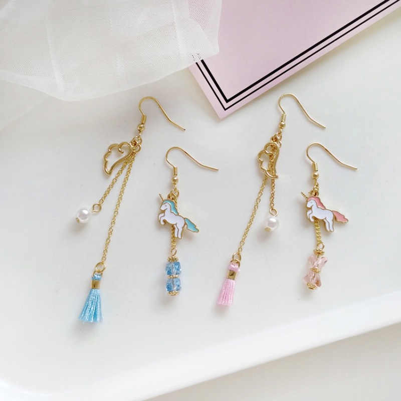 XEDZ Creative Korean Personality Unicorn Asymmetric Wings Long Section Earrings Wild Pearl Fashion Tassel Ear Clip Jewelry