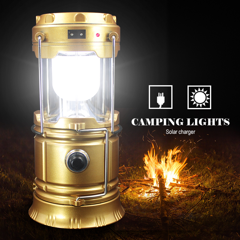 Outdoor Flashlights Luminaire LED 6LEDs Solar <font><b>Power</b></font> Collapsible Portable Lamp LED Rechargeable Hand Lamp Camping Lantern Light