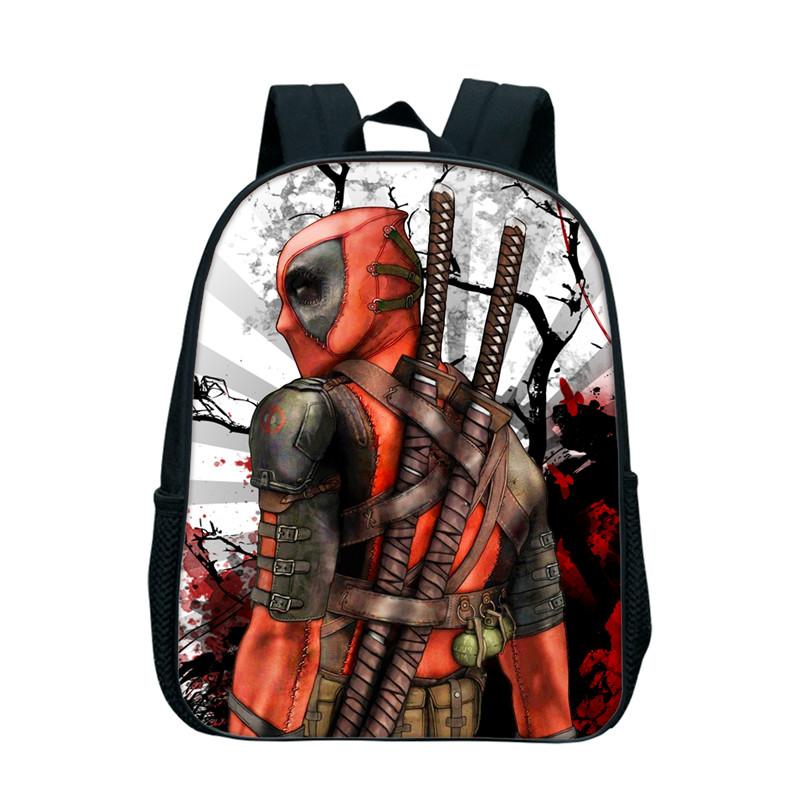 df2cd5f559d7 12 Inch Anime Superhero Deadpool Backpack Rucksack Girl Boys School Bag  Travel Laptop Bag Kindergarten Bookbag For Children Kids