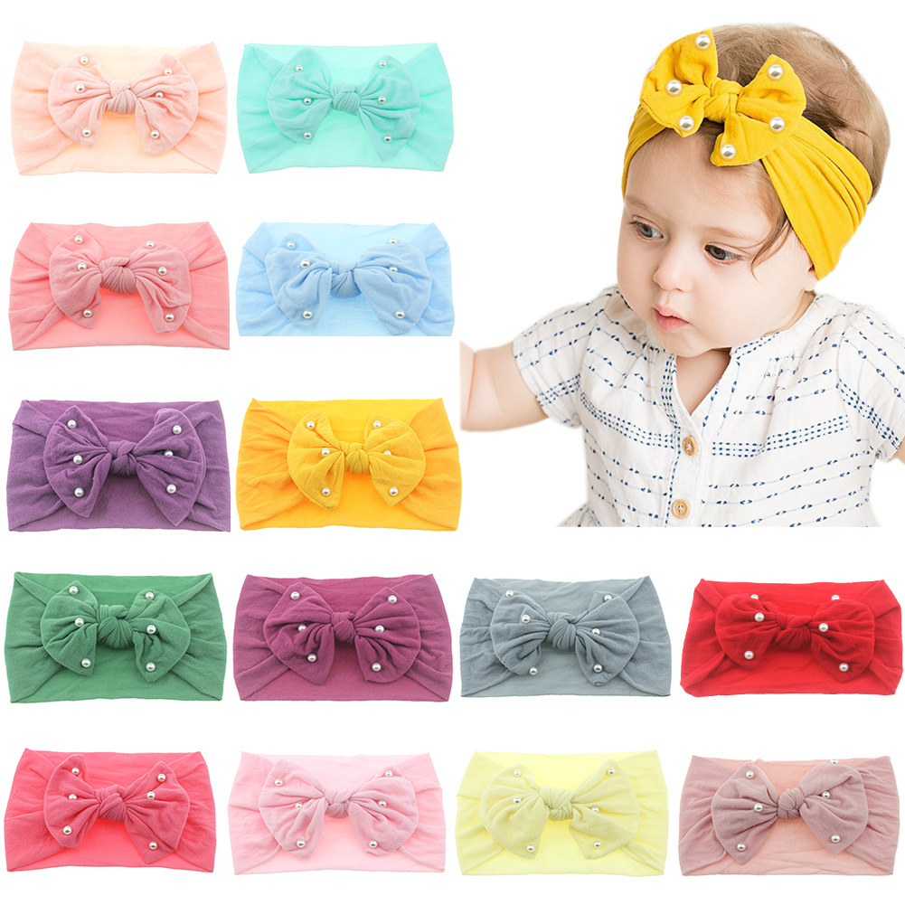 New Newborn Toddler Baby Girls Head Wrap Hair Bows with Pearl Knot Turban Headband Hair Accessories Birthday Gifts for 0 3Y