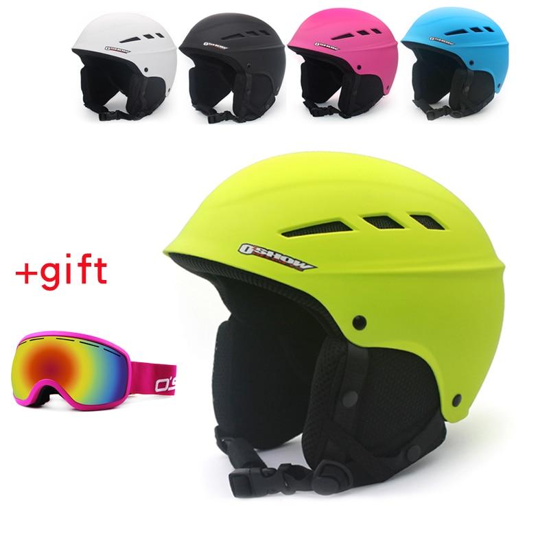 OSHOW Ski Helmet With Goggles For Adult Half-Covered Snowboard Helmet Sports Helmet Women Helmet Covers Safety Skate