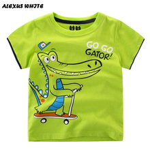 Crocodile T Shirts Boys Summer 2017 Short Sleeve Cartoon Printed Cotton Tops Hippo Children's Clothing Kids Clothes Boy T-Shirt