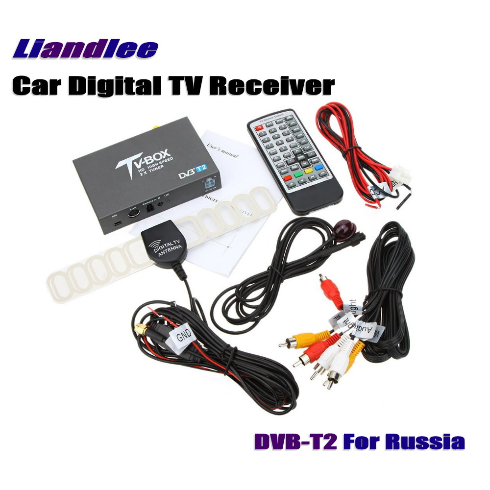 Liandlee For Russia DVB-T2 Car Digital TV Receiver Host Mobile HD TV Turner Box Antenna RCA HDMI High Speed / Model DVB-T2-T337 hot digital car tv tuner dvb t2 car tv receiver hdmi 1080p cvbs dvb t2 support h 264 mpeg4 hd tv receiver for car free shipping