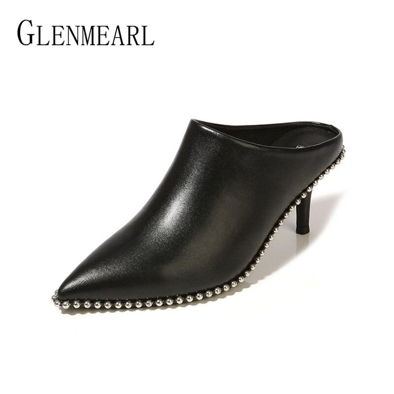Véritable cuir femmes pantoufles Mules chaussures talons hauts daim Pointe orteil chaussures d'été femme marque femme diapositives grande taille noir DE