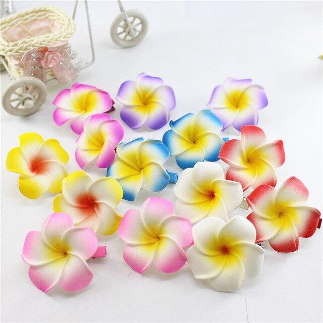 10 horquillas de Plumeria hawaianas de espuma populares para niñas niños Frangipani flor clips de pelo de novia para niñas mujeres mariposa