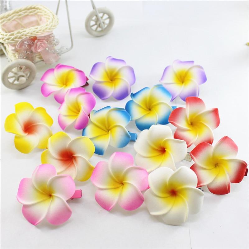 10 Popular Foam Hawaiian Plumeria Hairpins For Girl Kids Frangipani Flower Bridal Hair Clips For Girl Women Butterfly