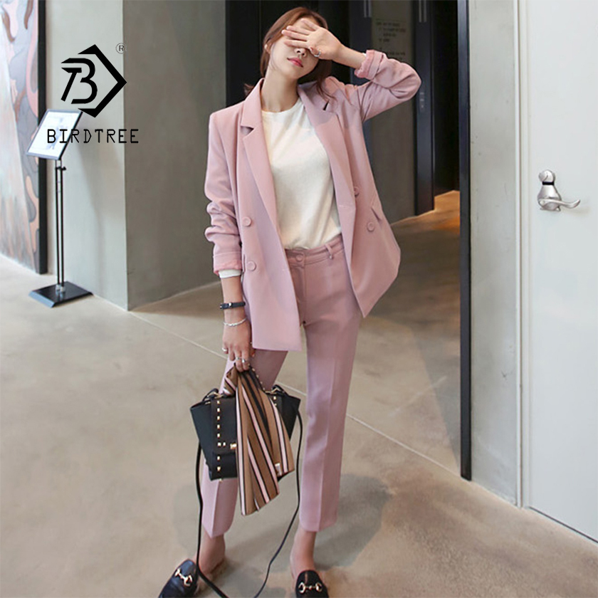 New Women Pant Suit Pink Solid Double Breasted Blazer High Waist Pants Elegant Office Lady Basic
