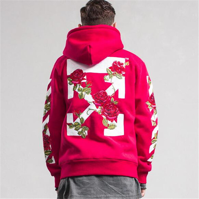 b0a63460cde 2017 newest fashion men flower sewed hoodies off white men red and black  oversize sweatshirts offwhite hip-hop hoodies