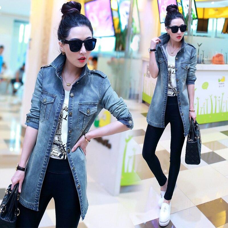4XL Womens Big Size Lapel Denim Windbreaker Jacket Spring Autumn Slim Long Sleeve Thin Breathable Casual Cardigan Long Coat Tops