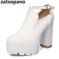 Zatsopano Brand New Fashion Ankle Strap Solid Nude Boots Platform Shoes For Women Casual Autumn Pumps 2018 Large Size 34 43