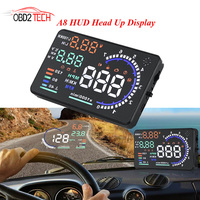 5.5 GPS speedometer A8 HUD Head Up Display LED Windscreen Projector OBD2 Scanner Speed Warning Fuel Consumption Data