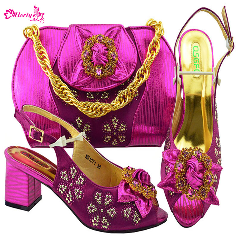 Latest Design Womens Dress Shoes Open Toe Heels Womens Pumps Nigerian Women Wedding Shoes and Bag Set Decorated with Appliques ladylike women s pumps with round toe and bowknot design