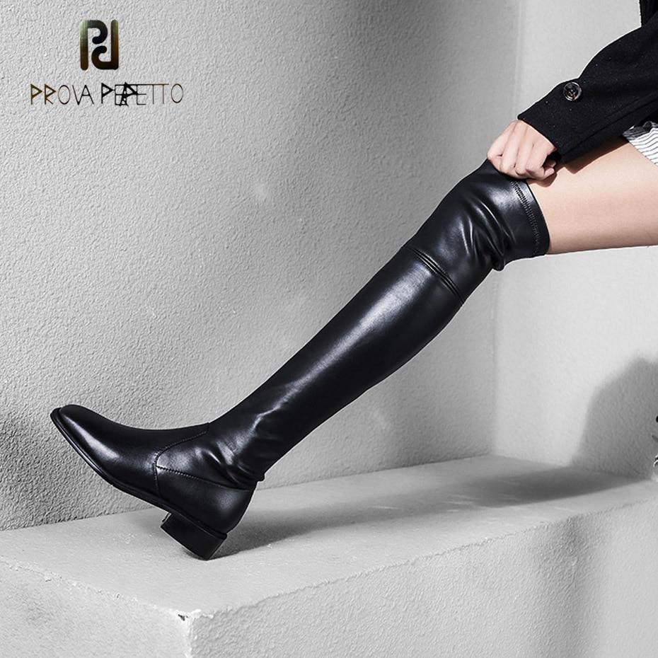 Prova Perfetto square toe low heel stretch pu over knee boots women black leather slip on thin leg sexy thigh high boots winter летние шины pirelli 225 45 r18 91w cinturato p7 run flat
