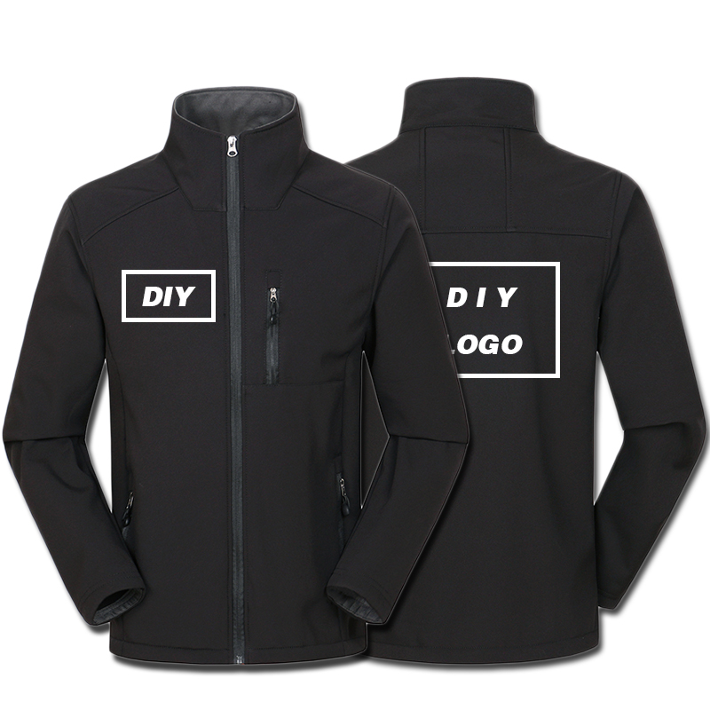 Custom Logo Design Printed Men's Autumn Jackets Waterproof Windproof Coat Zipper Softshell Degisn Outerwear Tops