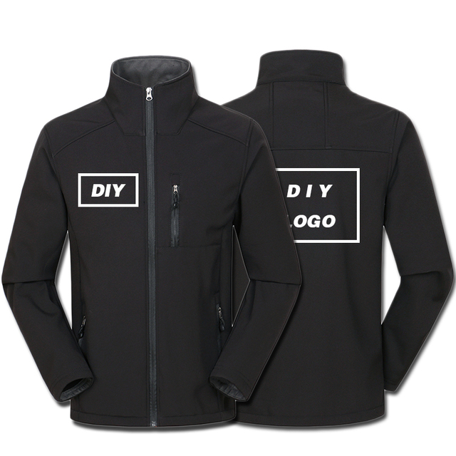 Custom Logo Design Printed Mens Autumn Jackets Waterproof Windproof Coat Zipper Softshell Degisn Outerwear Tops