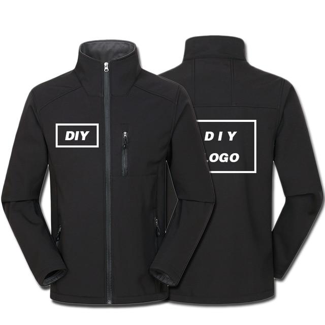 Özel Logo tasarım baskılı erkek sonbahar ceketler su geçirmez rüzgar geçirmez ceket fermuar Softshell tasarım kabanlar Tops