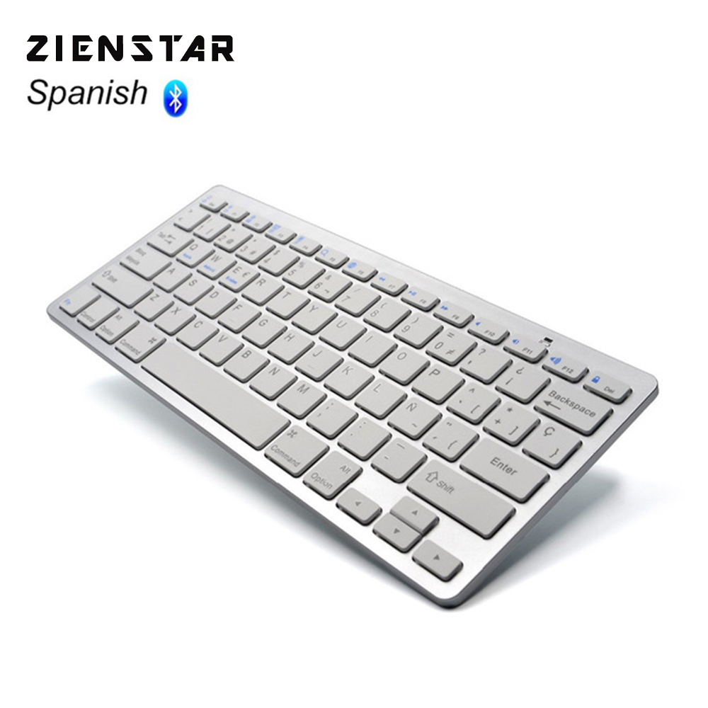 Zienstar spanyol nyelv Ultra vékony vezeték nélküli billentyűzet Bluetooth 3.0 ipad / iphone / Macbook / PC számítógéphez / Android tablethez