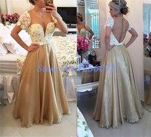 Chic Perlen Appliques Abendkleider Lang Elegante Eine Linie Abendkleid robe de soiree vestido de festa Graceful Abendkleid