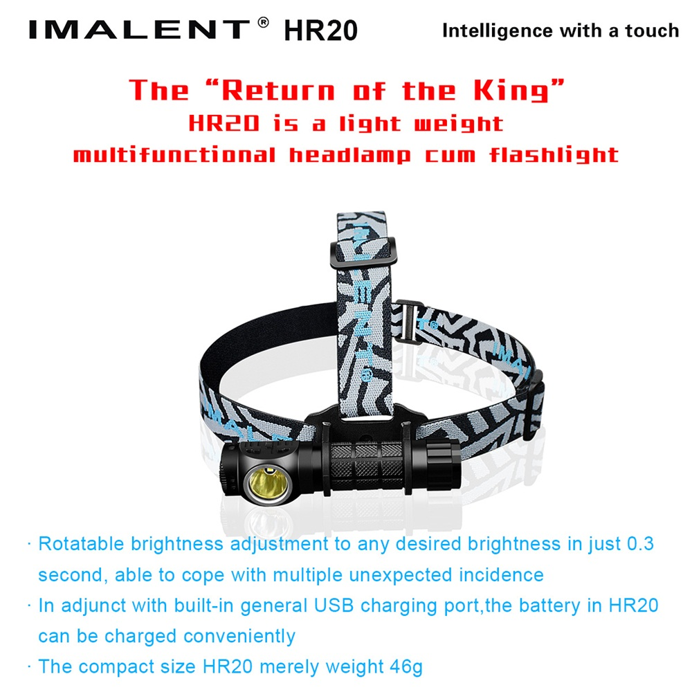 2016 NEW Led Headlamp HR20 CREE XP-L HI LED 1000 Lumens Tactical eadlight With Built-in USB Charger By 1x18650/2xCr123A Battery ip68 waterproof headlamp hr20 cree xp l hi led 1000 lumens headlight with built in usb charger by1x18650 2xcr123a battery