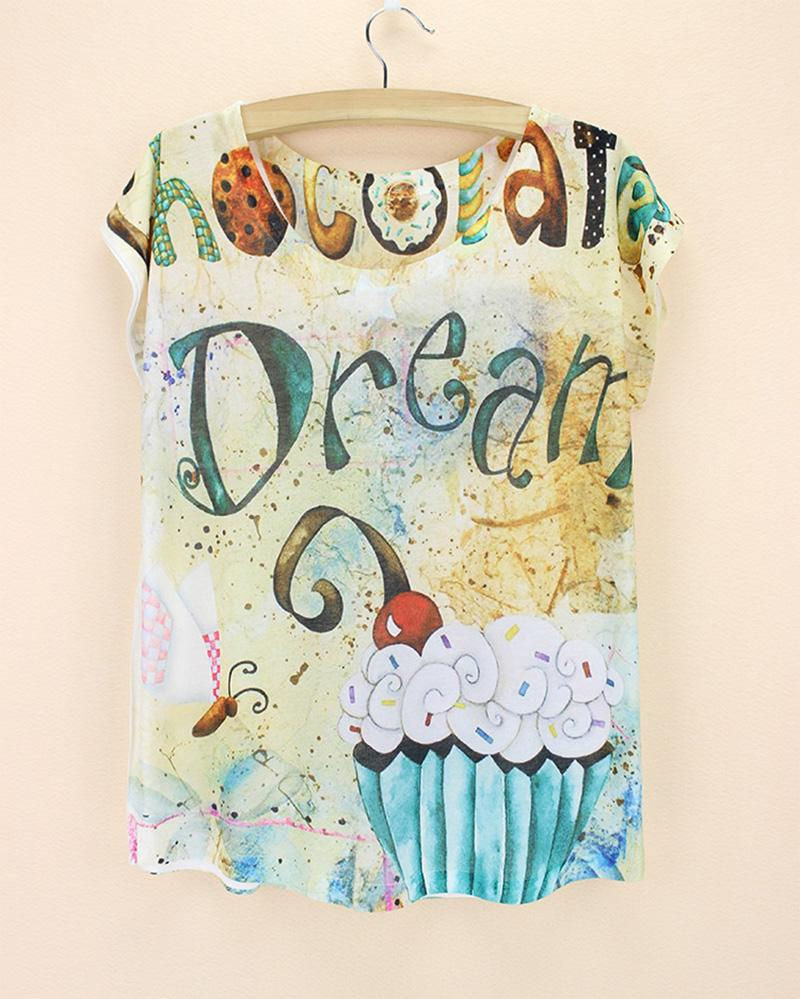 Shirt design cake - Cake Chocolate Dream Butterfly Print Tops Poleras De Mujer Moda 2015 Cool Design Cake Design Little Girl Big Size Tshirt