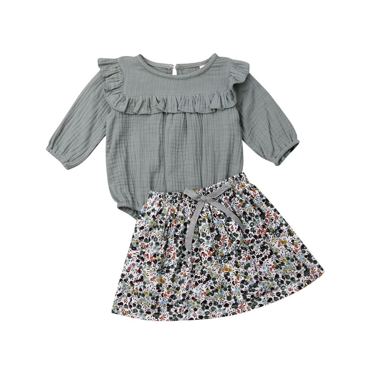 2019 New Infant <font><b>Newborn</b></font> <font><b>Baby</b></font> <font><b>Girls</b></font> <font><b>Clothes</b></font> Set <font><b>Autumn</b></font> Spring Long Sleeve Ruffles Romper + Flower Skirts Outfits image