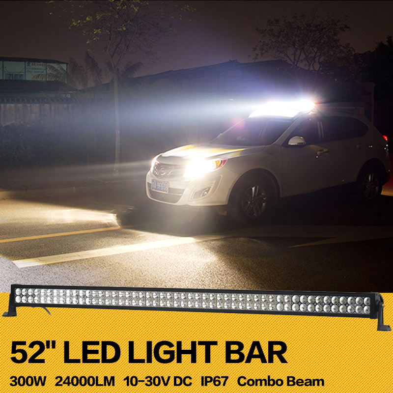 300W 52''inch Offroad LED Light Bar Work Working Drive Driving Light Combo for Tractor Off-road 4WD Truck Boat SUV Jeep Wrangler 1pcs 120w 12 12v 24v led light bar spot flood combo beam led work light offroad led driving lamp for suv atv utv wagon 4wd 4x4