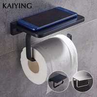 KAIYING Toilet Paper Holder Alumimum Bathroom Accessories Wall Mounted with Mobile Phone Storage Shelf Rack,Black/Silver