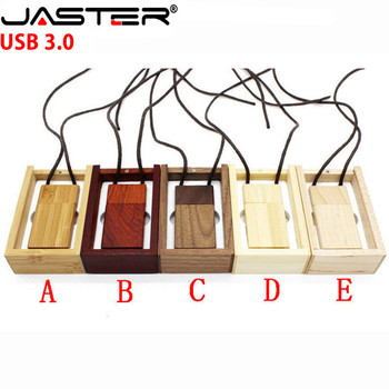 JASTER USB 3.0 (free custom logo) wooden with rope usb+gift box usb flash drive Memory stick pendriver 8GB 16GB 32GB 64GB gift