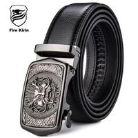 FIRE KIRIN Genuine Leather Belt Men Automatic Buckle Designer Belts Men High Quality Chinese Style Vintage