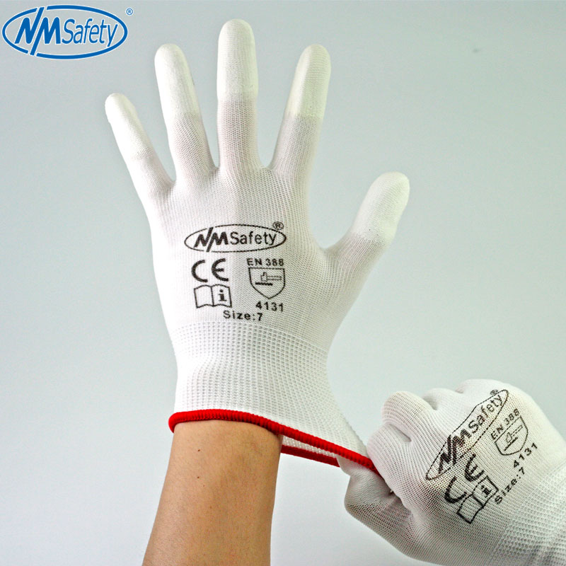 NMSafety Nylon & PU palm coated electronic Anti-static Gloves With PU AntiStatic Work Glove 1pair antistatic gloves anti static esd electronic working gloves pu coated palm coated finger pc antiskid for finger protection