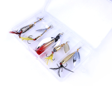 5pcs New Set Sequins Spinner Baits 14-20g Metal Fishing Lure Spinnerbait Fishing Wobblers Treble Hooks Fishing Tackle Box