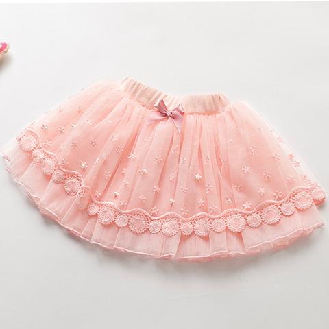 Falda de los niños para las muchachas 5-12 años de bebé de encaje beige falda mullida cortos de las muchachas del tutú faldas de las muchachas 2017 resorte nuevo traje e 023