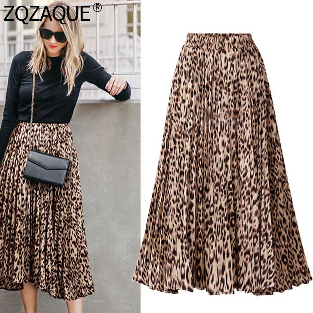 Plus Size Leopard Skirt 2019 European Women's Sexy Skirts A Line Printing Long Skirt S-XXXL Female All-match Beach Skirt SY1892