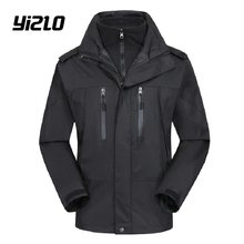 YIZLO Winter mens parka Thick Fleece coat Thermal Warm Windproof Hood warm cotton coat waterproof windproof parka