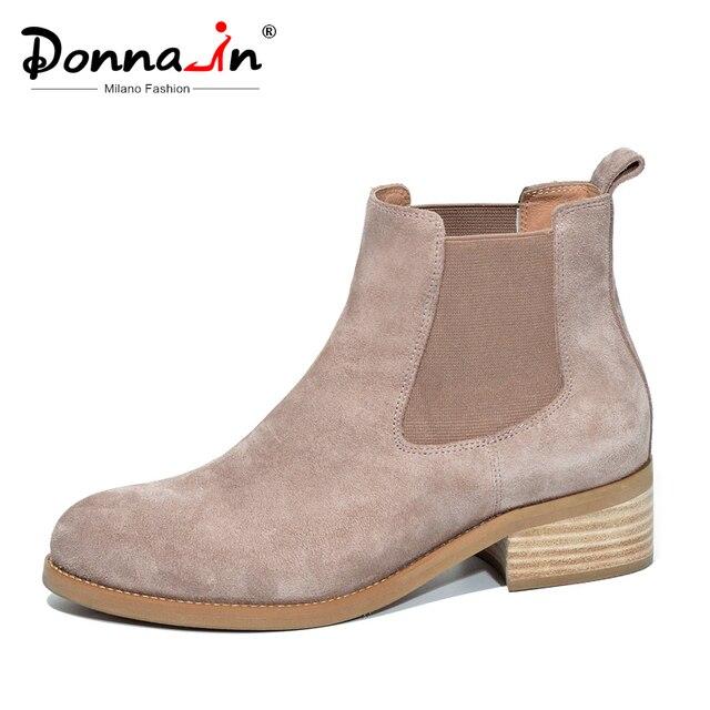 Donna-in/брендовые ботинки «Челси» из натуральной кожи, женские ботильоны из замши ручной работы на толстом каблуке, удобная женская обувь, весна-осень