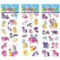 6 hoja / set mi Pony pegatinas para los niños casa decoración de la pared portátil potro de la historieta mini 3D de la etiqueta engomada del refrigerador garabato patineta