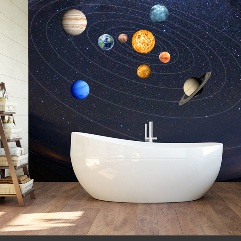 Glow Nine planets Wallpapers Decal Baby Kids Bedroom DIY Planets Fluorescent Wall Sticker Removable Glow In The Dark Planet fashionable romantic red rose pattern removable diy wall sticker
