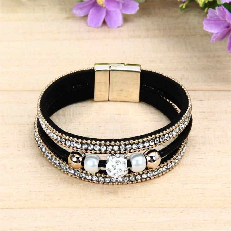 HOT Vrouwen Multilayer Bangle Armband Crystal Kralen Trinket Lederen Magnetische Polsband Armbanden Sieraden Accessoires Polsbandje