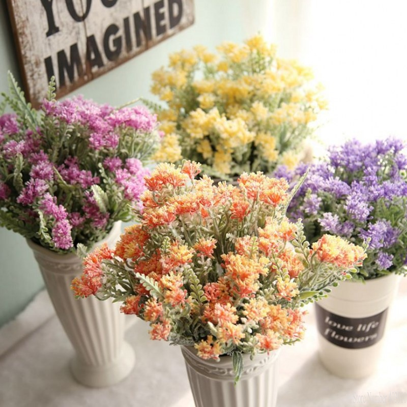 Artifical Milan Flower Grass Bouquet Flocking Plastic Cure Rural Country Style Wedding Party Home Decorative flowers fake plants